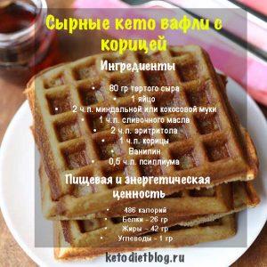 Сырные кето вафли с корицей, ингредиенты, рецепт, пищевая ценность