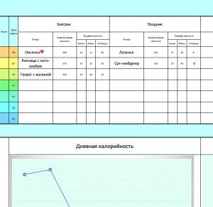 Инструкция к трекеру питания - записи в дневнике питания.