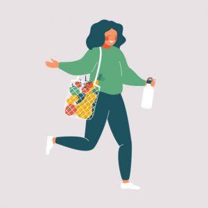 Девушка идет из магазина с продуктами. Кето для женщин.